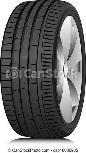 Tyre. Wheel. Vector. - csp16036985