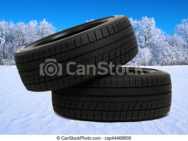 tyres for car on snow - csp44468809