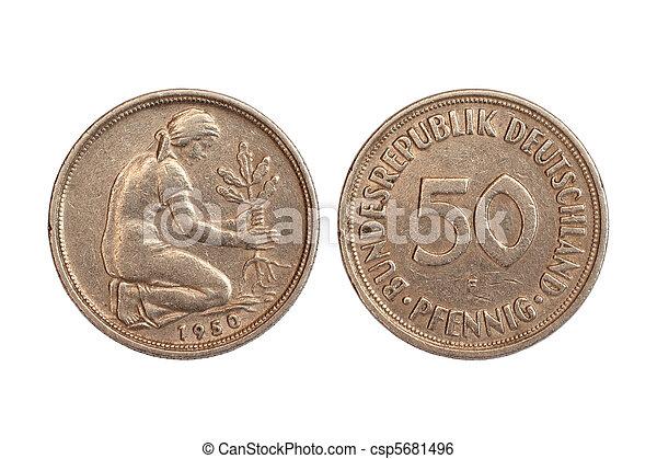 tyskland, mynt, sällsynt - csp5681496