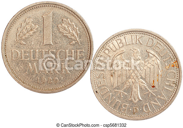 tyskland, mynt, sällsynt - csp5681332