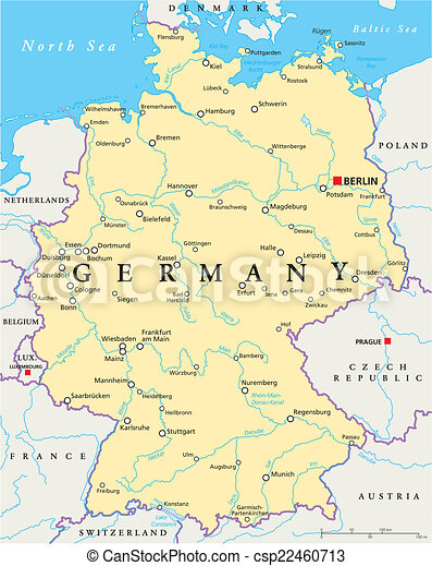 Tyskland Politisk Karta Karta Scaling Illustration