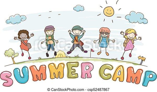 tytuł, dzieciaki, stickman, letni tabor, ilustracja - csp52487867