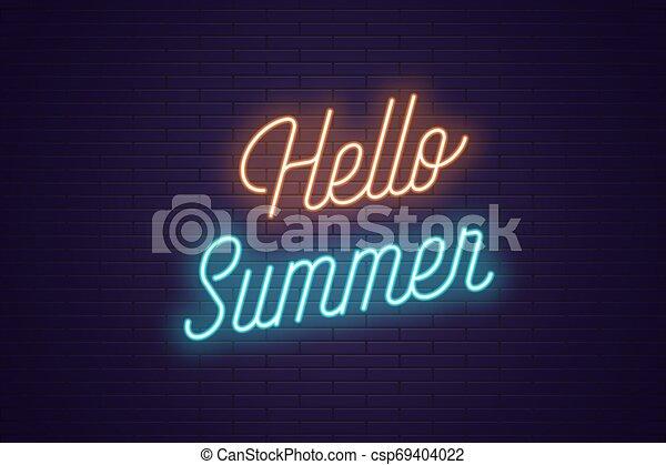 tytuł, tekst, neon, jarzący się, summer., powitanie - csp69404022
