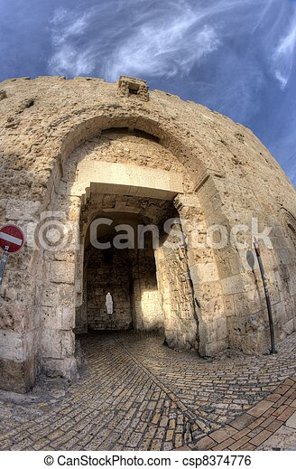 Tzion gate of the old city in jerusalem holy land - csp8374776