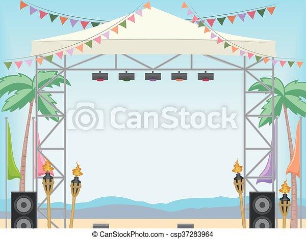 ułożyć, plaża, dzień, rusztowanie - csp37283964