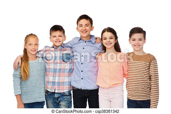 uśmiechanie się, dzieci, tulenie, szczęśliwy - csp38381342