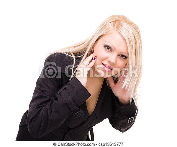 uśmiechnięta kobieta, białe tło - csp13513777
