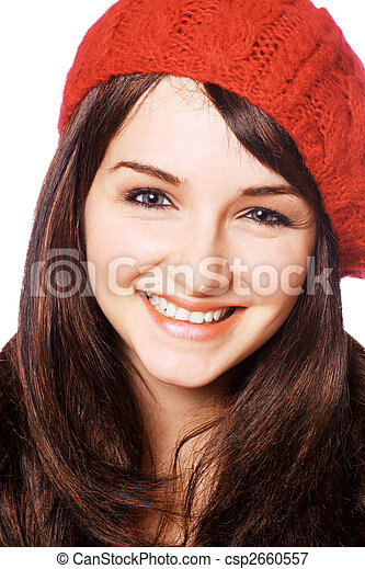 uśmiechnięta kobieta, kapelusz, czerwony - csp2660557