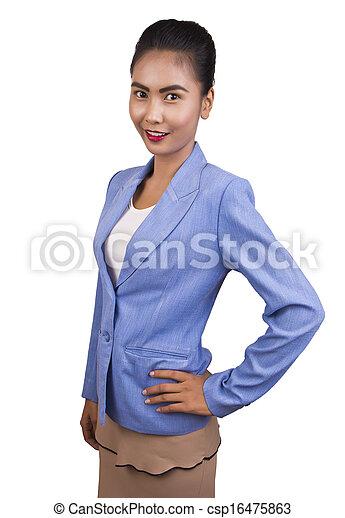 uśmiechnięty., kobieta, asian handlowy - csp16475863
