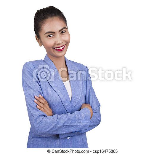 uśmiechnięty., kobieta, asian handlowy - csp16475865