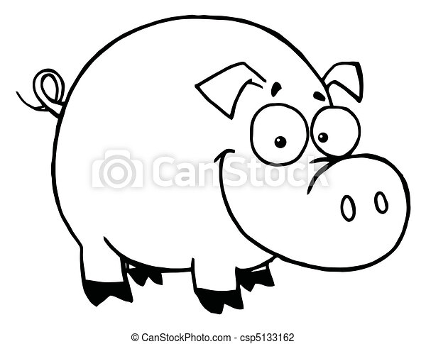 uśmiechnięty szczęśliwy, szkic, świnia - csp5133162