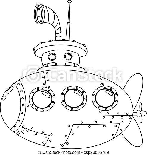U boot, umrissen. Färbung, umrissen, submarine., abbildung ...