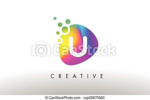 U Colorful Logo Design Shape. Purple Abstract Shape Letter Icon. - csp50870560