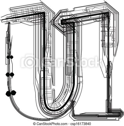 u, font., litera, techniczny - csp16173840