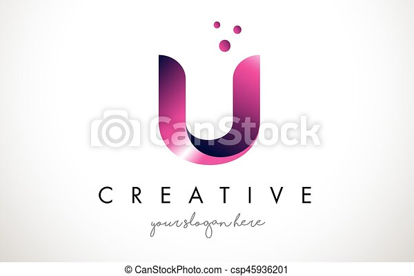 u letter logo design with purple colors and dots csp45936201