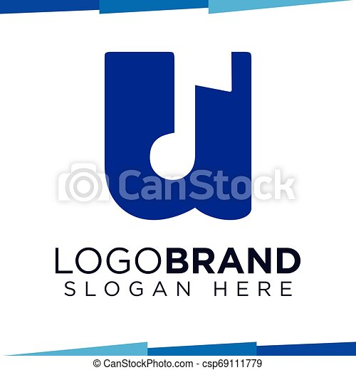 U Letter with music symbol logo vector template - csp69111779