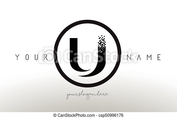 U Logo Letter With Digital Pixel Tech Design Vector