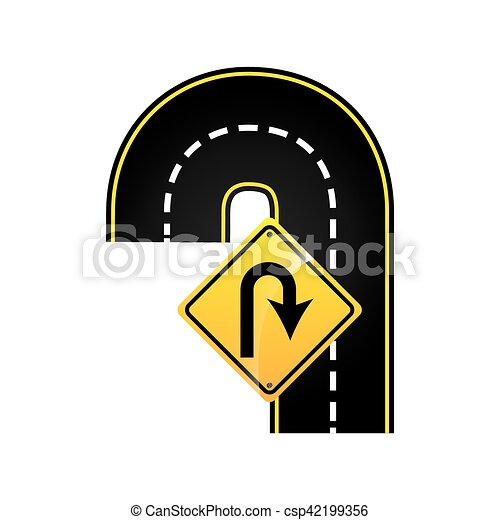 uturn road sign concept graphic vector illustration eps