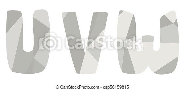 U V W Grey Alphabet Letter Vector Set Isolated On White Background