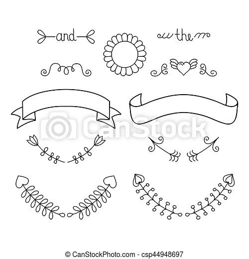 u00c9l u00e9ments  graphique  ensemble  coeur  couronne vector flourishes vector flourish ornaments
