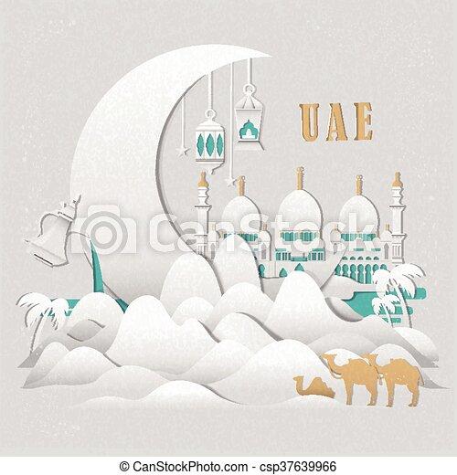 Uae Culture Elements Set Elegant United Arab Emirates Culture Set