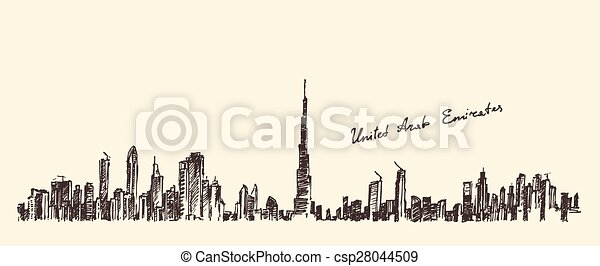 UAE Dubai City Skyline Hand Drawn, Engraved Vector - csp28044509
