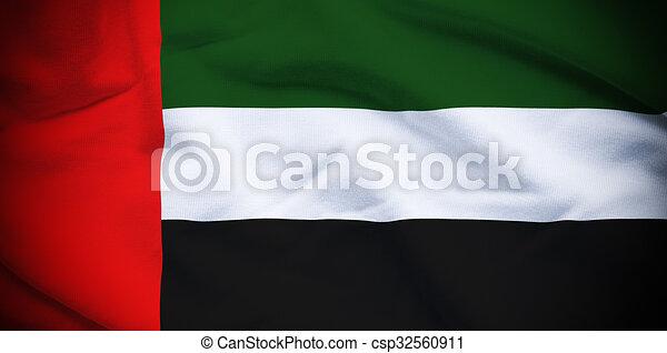 uae flag. wavy and rippled national flag of uae background.
