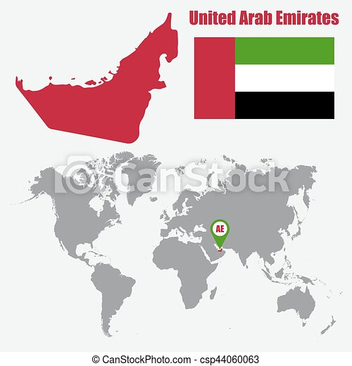 uae map on a world map with flag and map pointer vector illustration