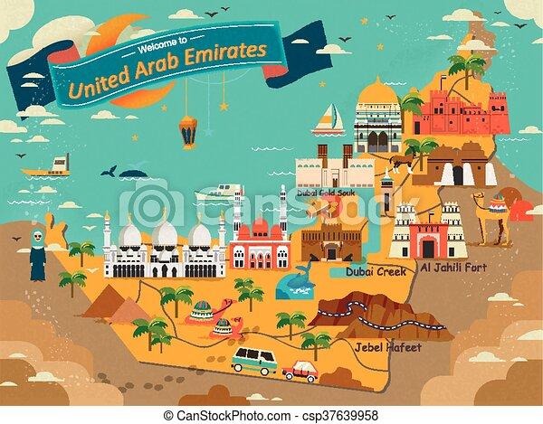 uae travel concept map csp37639958