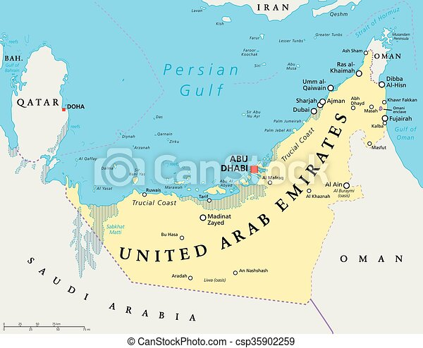 Uae united arab emirates map. Uae united arab emirates political map ...