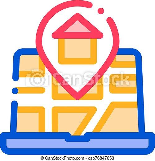 ubicación, delgado, casa, mapa, vector, marcador, línea, icono - csp76847653