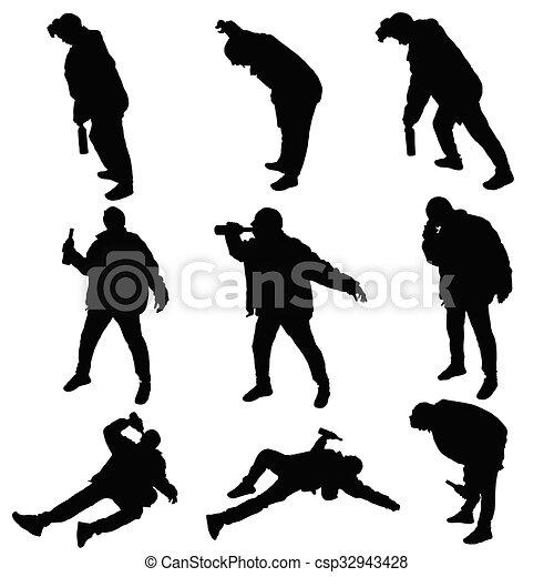ubriaco, vettore, silhouette, uomo - csp32943428