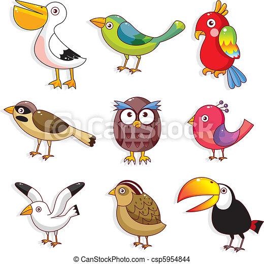 uccelli, cartone animato, icona - csp5954844