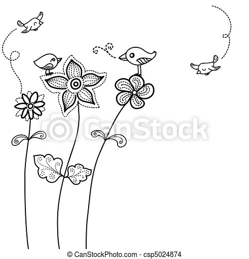 uccello, fondo, carino, floreale - csp5024874