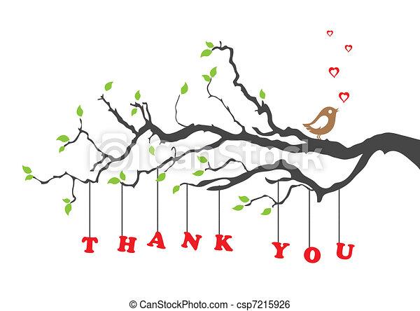 uccello, lei, ringraziare, scheda, augurio - csp7215926