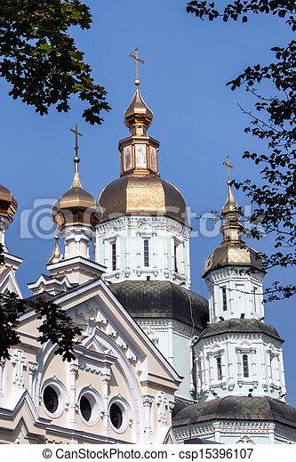 Monasterio St. Intercesión en Kharkiv, Ucrania - csp15396107