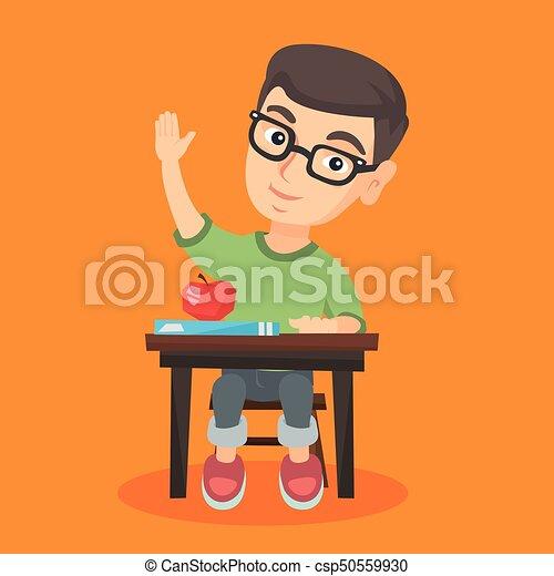 uczeń, podniesiony, biurko, ręka., posiedzenie - csp50559930