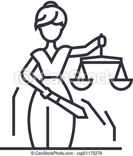 uderzenia, editable, znak, ilustracja, sprawiedliwość, wektor, statua, ikona, kreska, tło - csp51175276