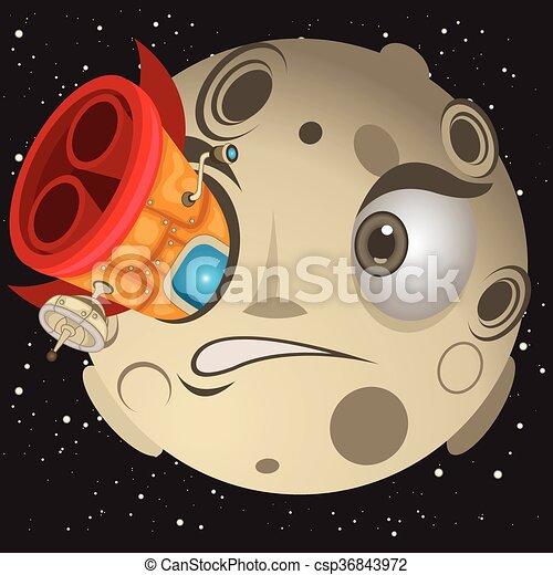 uderzyć, rakieta, księżyc - csp36843972