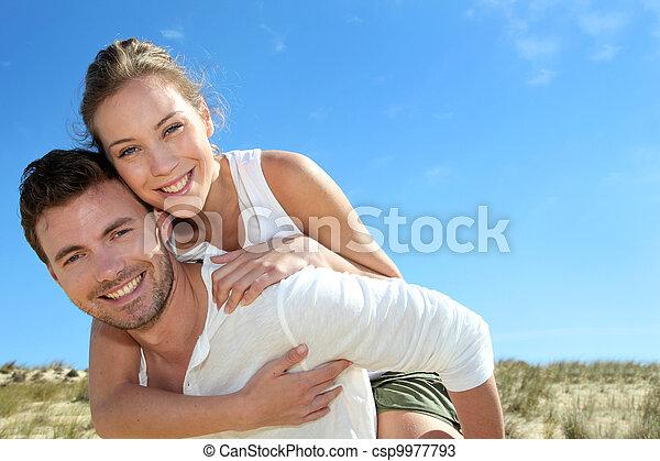udzielanie, jazda, diuna, piggyback, piasek, sympatia, człowiek - csp9977793