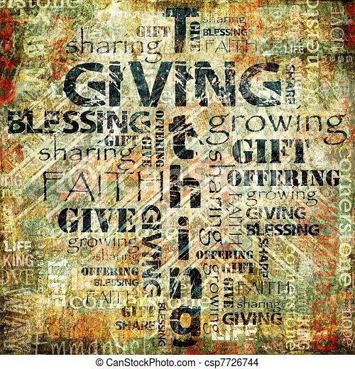 udzielanie, tithing, tło - csp7726744