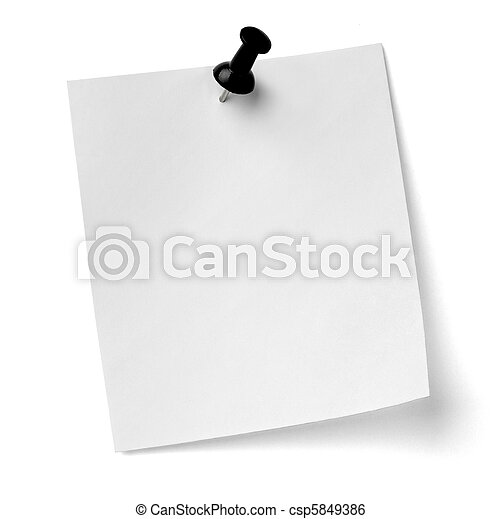 ufficio, affari, notare carta, perno, spinta - csp5849386