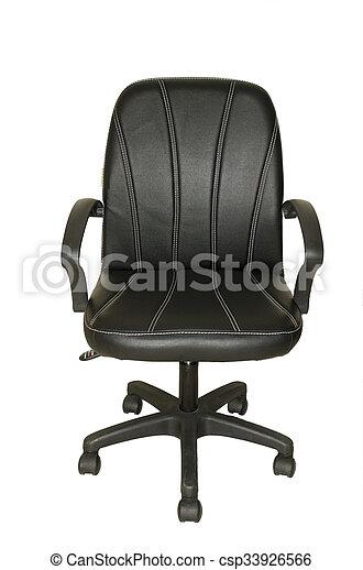 ufficio, cuoio, isolato, nero, sedia, bianco - csp33926566