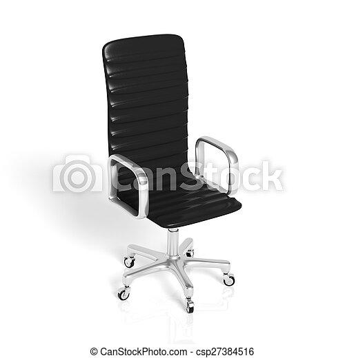 ufficio, cuoio, isolato, nero, sedia, bianco - csp27384516