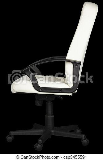 ufficio, cuoio, sfondo nero, bianco, sedia - csp3455591