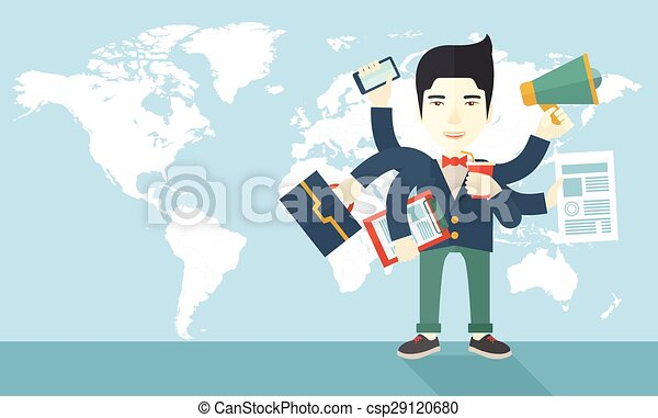Ufficio Disegno Yoga : Ufficio giapponese ma giovane impiegato multitasking tasks