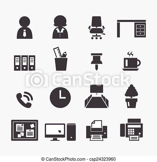 ufficio, icona - csp24323960