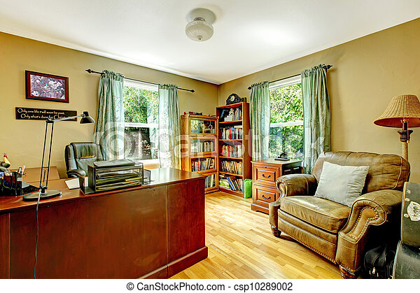 Parete Verde Ufficio : Ufficio wood. pareti verde interno casa. ufficio wood. pareti