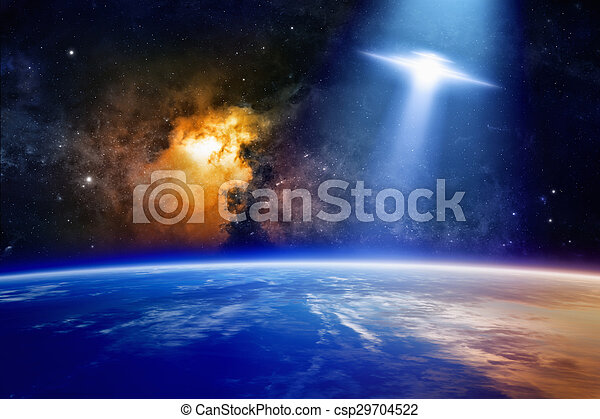 ufo approaches planet earth fantastic background ufo with bright