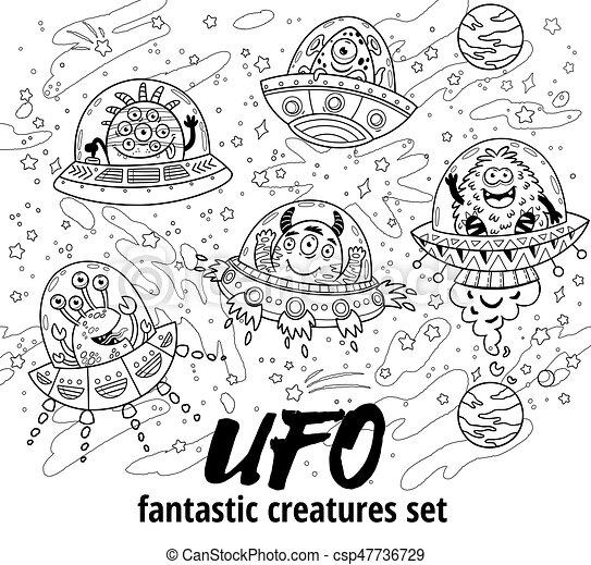 Fantastic Creatures Set In Outline Vector Illustration Coloring Book